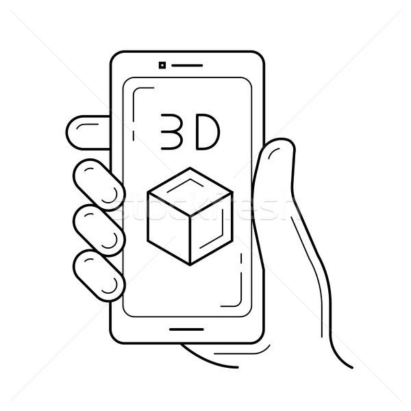 Stock photo: Phone with three d design line icon.
