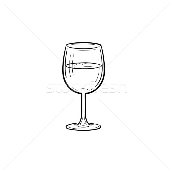 Stock photo: Wine glass hand drawn sketch icon.