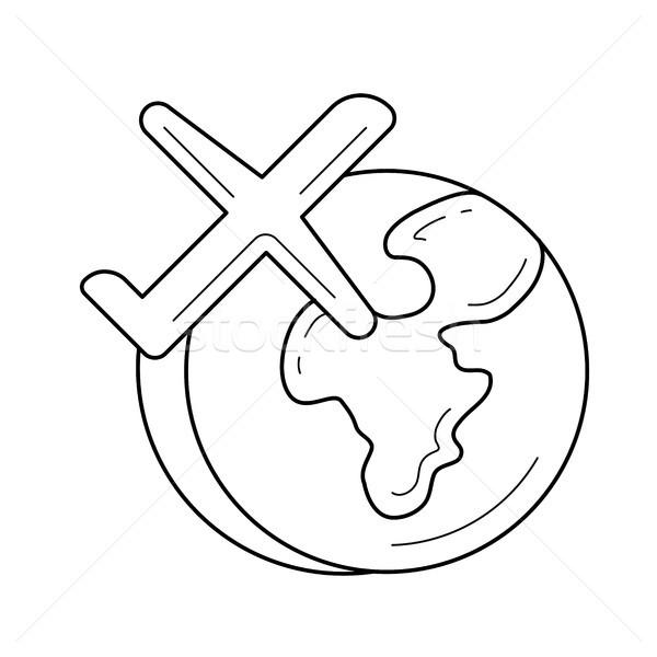 Сток-фото: самолет · Flying · вокруг · Мир · вектора · линия