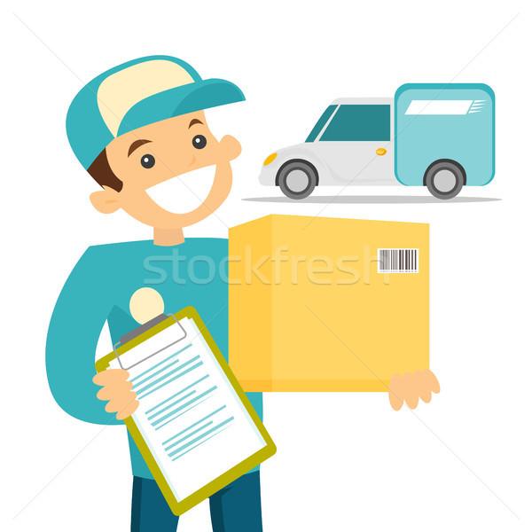 Kurier Paket weißen Mannes Feld Papiere Zeichen Stock foto © RAStudio