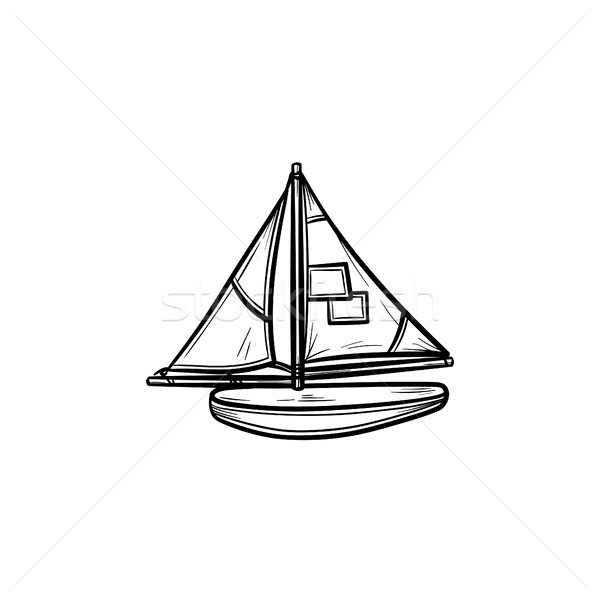 Toy model of a ship hand drawn outline doodle icon. Stock photo © RAStudio