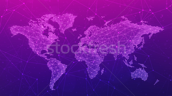 Polygon world map on blockchain hud banner. Stock photo © RAStudio