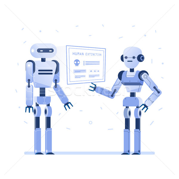 Two robots examine virtual hud interface. Stock photo © RAStudio
