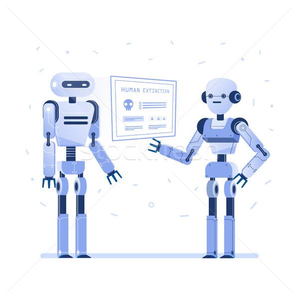 Two robots examine virtual hud interface. Stock photo © RAStudio