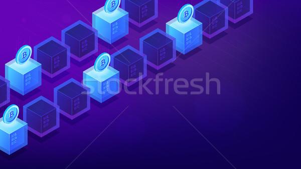 Isometric bitcoin mining computers. Stock photo © RAStudio