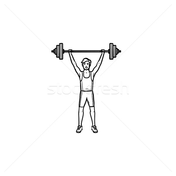 Sportsman with heavyweight barbell hand drawn outline doodle icon. Stock photo © RAStudio