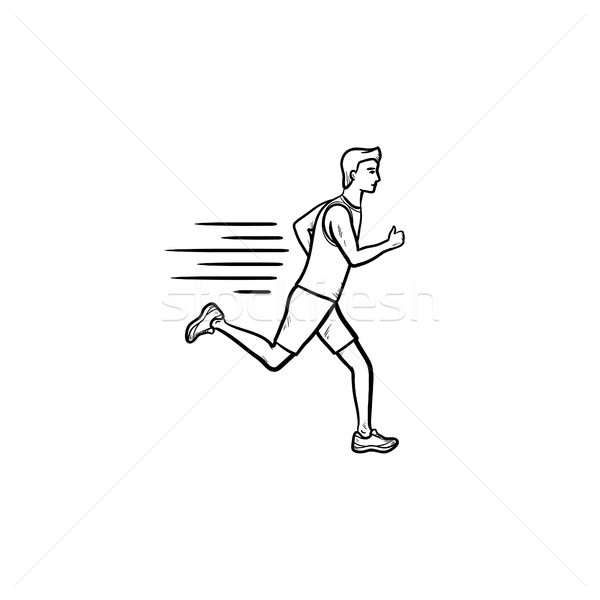 Running man hand drawn outline doodle icon. Stock photo © RAStudio