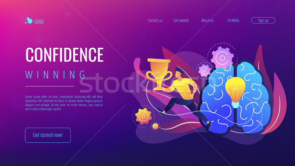 Confidence and winning concept landing page. Stock photo © RAStudio