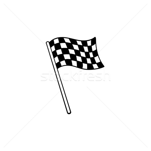 Racing checkered flag hand drawn outline doodle icon. Stock photo © RAStudio