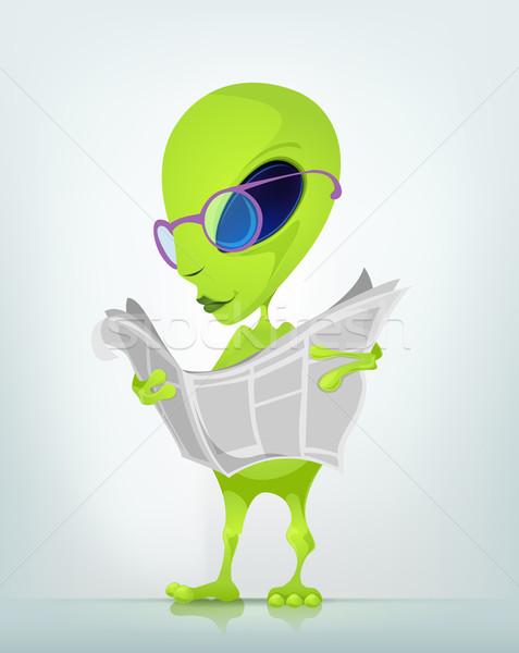 Vicces idegen rajzfilmfigura izolált szürke gradiens Stock fotó © RAStudio
