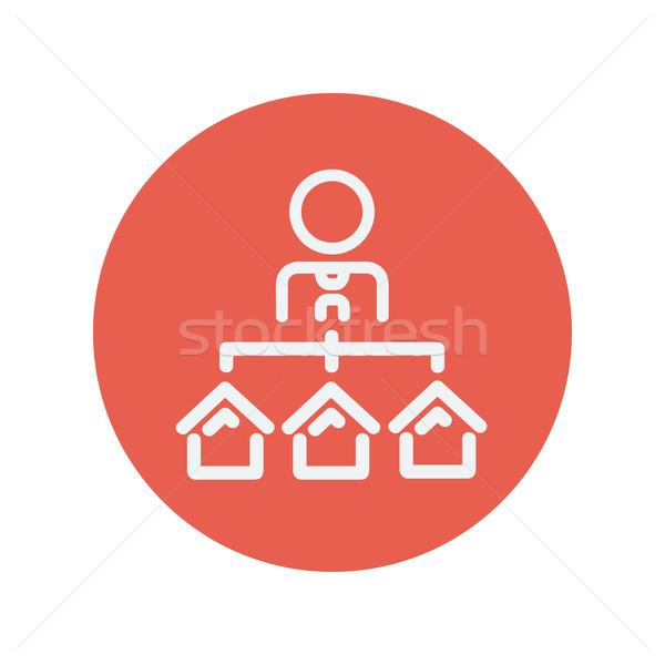 Agent with three houses for sale thin line icon Stock photo © RAStudio