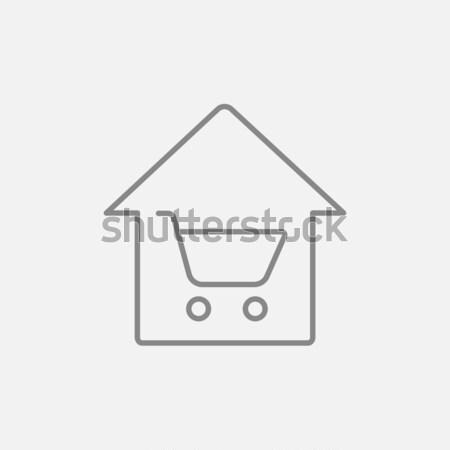 Huis winkelen dun lijn icon web Stockfoto © RAStudio