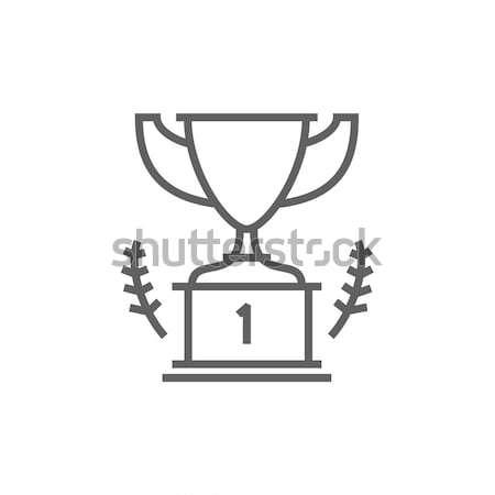 Troféu primeiro lugar vencedor fino linha ícone Foto stock © RAStudio
