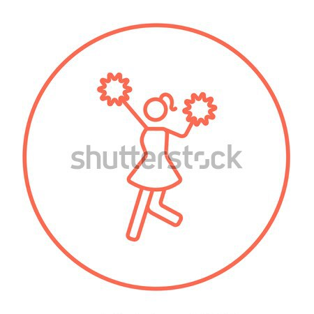 Cheerleader with pom thin line icon Stock photo © RAStudio