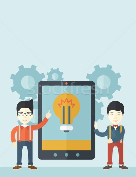 Twee zakenlieden groot scherm tablet Stockfoto © RAStudio