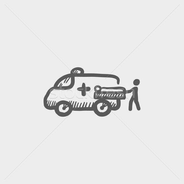 Man and ambulance car sketch icon Stock photo © RAStudio