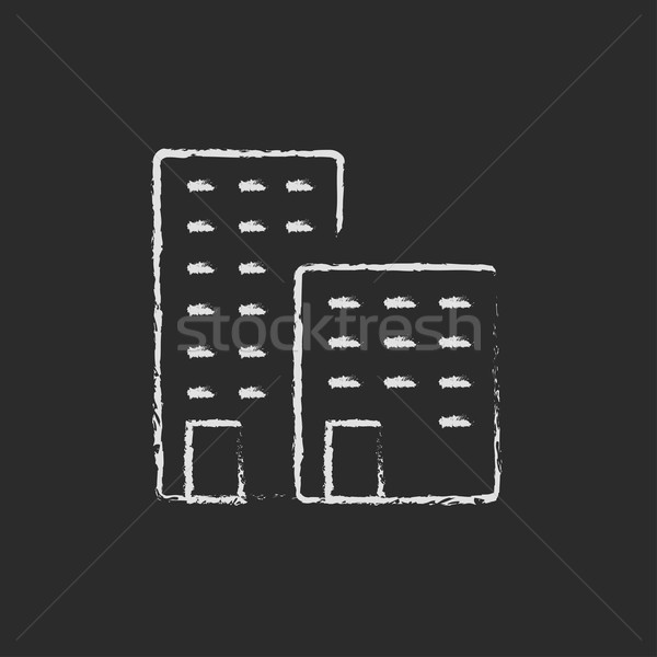Fabrika ikon tebeşir tahta Stok fotoğraf © RAStudio