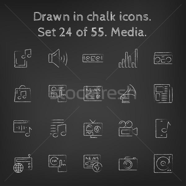 Media icon set drawn in chalk. Stock photo © RAStudio