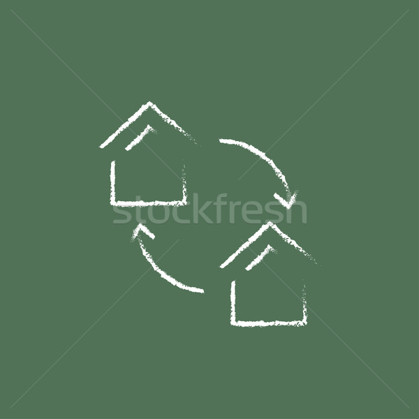 House exchange icon drawn in chalk. Stock photo © RAStudio