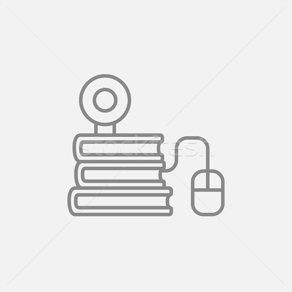 Ligne éducation ligne icône une souris d'ordinateur Photo stock © RAStudio