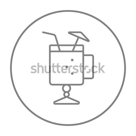 Glass with drinking straw and umbrella line icon. Stock photo © RAStudio