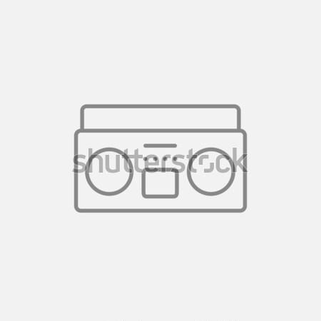 Rádió kazetta játékos vonal ikon háló Stock fotó © RAStudio