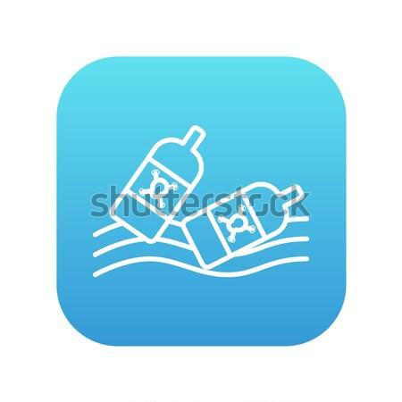 Bottles floating in water line icon. Stock photo © RAStudio