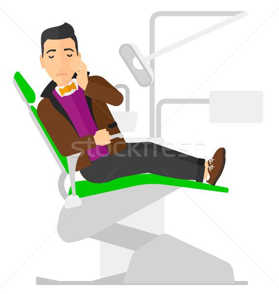 Stock fotó: Férfi · szenvedés · fogászati · szék · beteg · ül