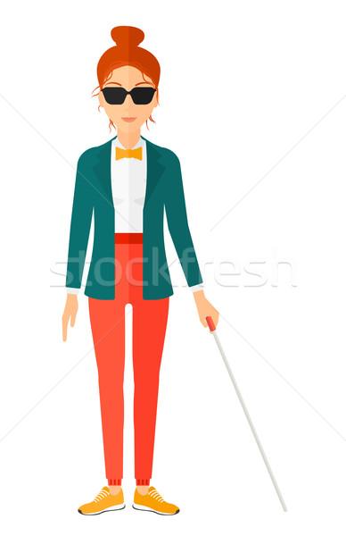 Cieco donna stick buio occhiali piedi Foto d'archivio © RAStudio