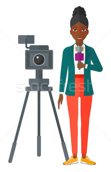 телевизор репортер рабочих камеры Постоянный микрофона Сток-фото © RAStudio