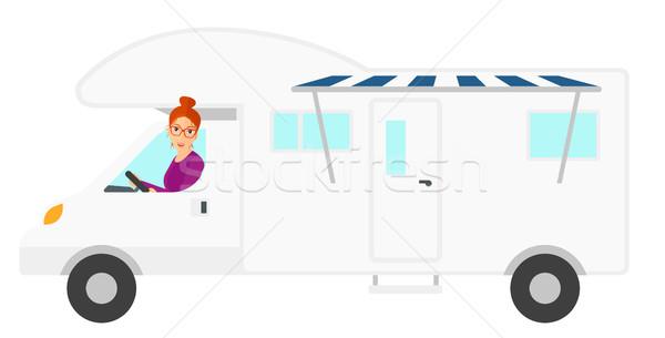 女性 運転 モータ ホーム ベクトル デザイン ストックフォト © RAStudio