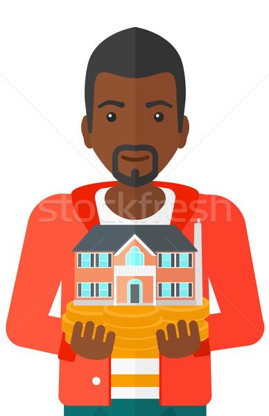Man huis model handen vector Stockfoto © RAStudio