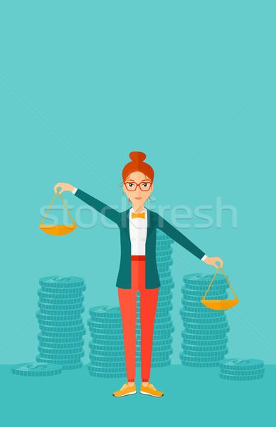 ビジネス女性 スケール 女性 手 青 ストックフォト © RAStudio