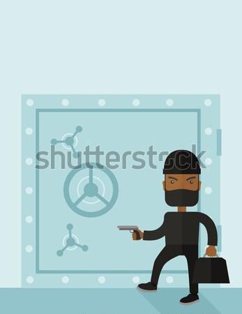 Rover pistool veilig professionele inbreker zwarte Stockfoto © RAStudio