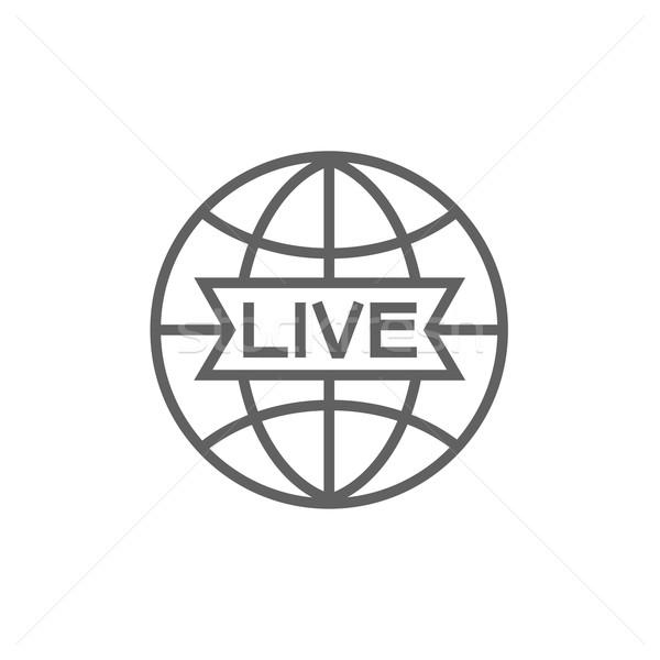 Dünya yaşamak imzalamak hat ikon web Stok fotoğraf © RAStudio