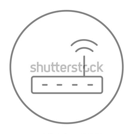 Sans fil routeur ligne icône web Photo stock © RAStudio