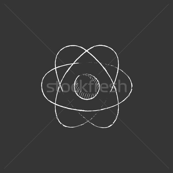 átomo tiza icono dibujado a mano vector Foto stock © RAStudio