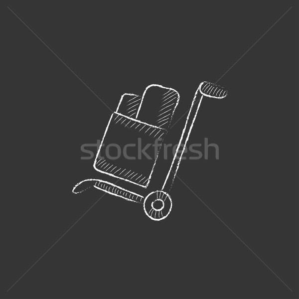 Shopping handling trolley. Drawn in chalk icon. Stock photo © RAStudio