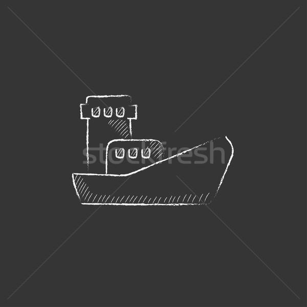 ładunku kontenerowiec kredy ikona Zdjęcia stock © RAStudio