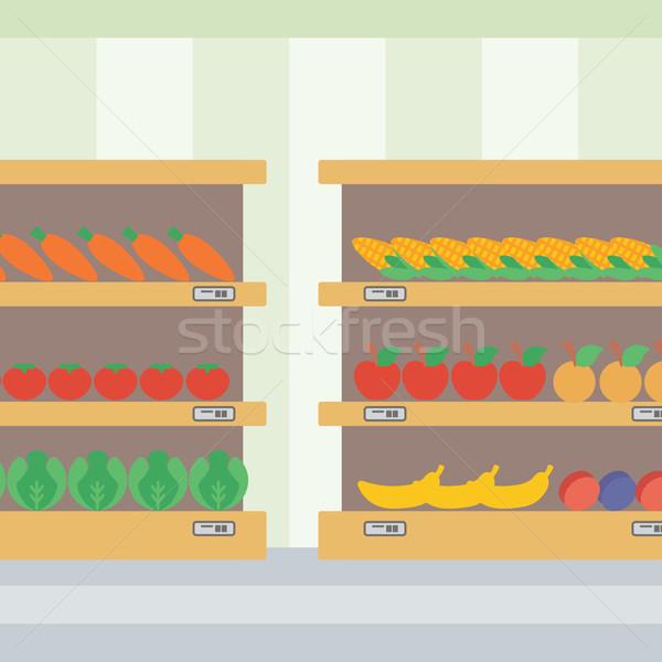 Zöldségek gyümölcsök polcok áruház vektor terv Stock fotó © RAStudio