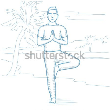 Stockfoto: Man · oefenen · yoga · permanente · boom · pose