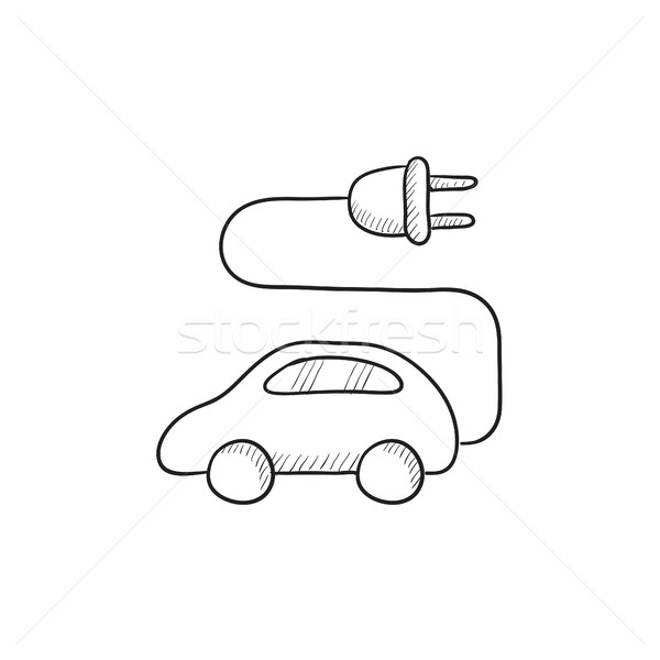 Carro elétrico esboço ícone vetor isolado Foto stock © RAStudio