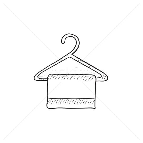 Törölköző vállfa rajz ikon vektor izolált Stock fotó © RAStudio