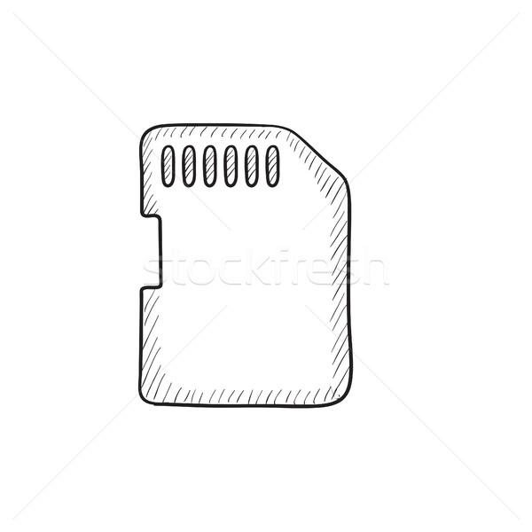 Bellek kart kroki ikon vektör yalıtılmış Stok fotoğraf © RAStudio