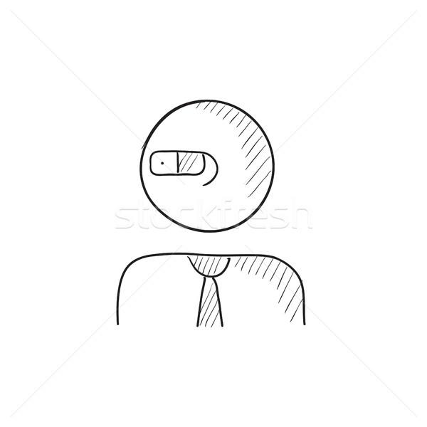 человека реальность очки эскиз икона вектора Сток-фото © RAStudio