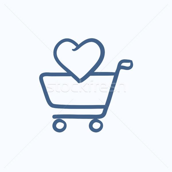 Alışveriş sepeti kalp kroki ikon vektör yalıtılmış Stok fotoğraf © RAStudio