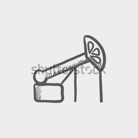 Pompen olie kraan schets icon vector Stockfoto © RAStudio