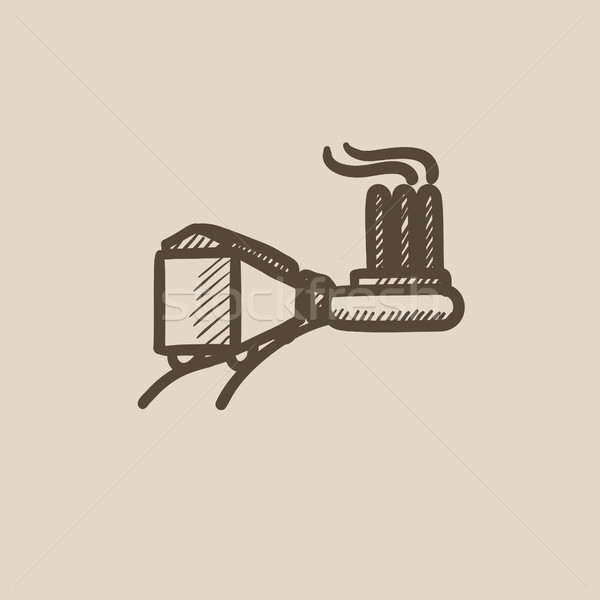 Factory with railway sketch icon. Stock photo © RAStudio
