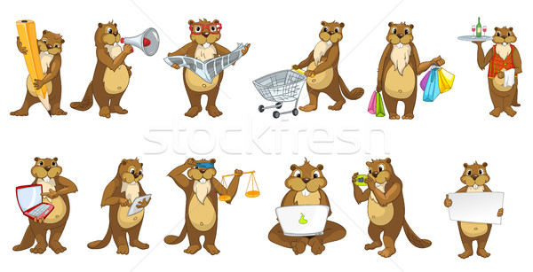 Stock photo: Vector set of cute beavers illustrations.