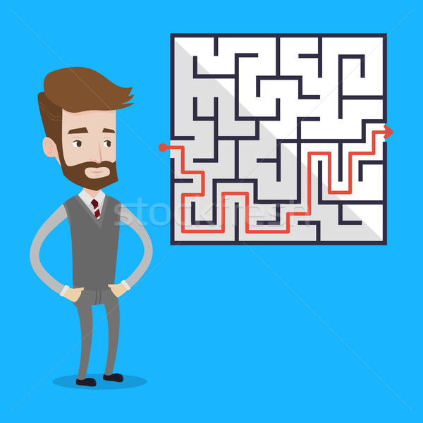 Businessman looking at the labyrinth. Stock photo © RAStudio